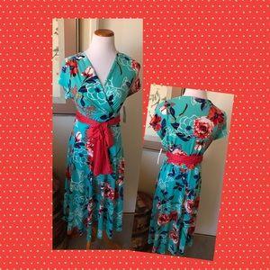 Shelby & Palmer Aqua & Red Dress